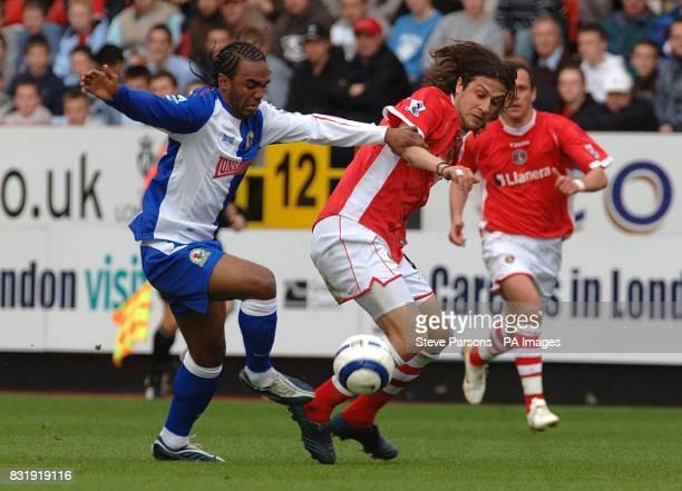 Blackburn Rovers Florent Sinama Pongolle challenges Charlton Athletic's Gonzalo Sorondo