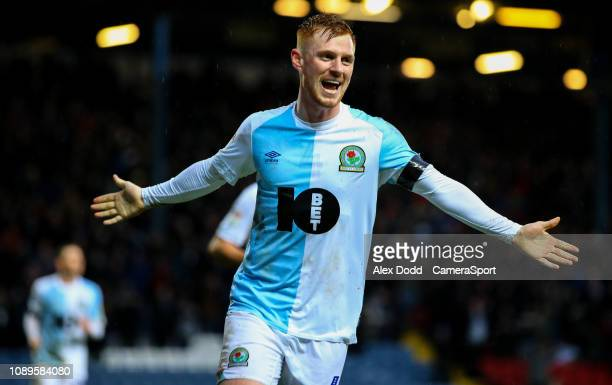 Blackburn Rovers' Harrison Reed celebrates scoring his side's third goal during the Sky Bet Championship match between Blackburn Rovers and Hull City...