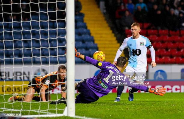 Blackburn Rovers' Harrison Reed scores his side's third goal during the Sky Bet Championship match between Blackburn Rovers and Hull City at Ewood...