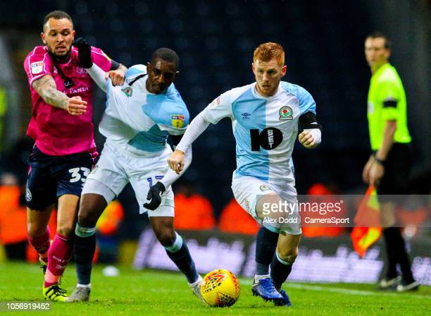 Blackburn Rovers' Harrison Reed steals the ball as Amari'i Bell tussles with Queens Park Rangers' Jake Bidwell during the Sky Bet Championship match...