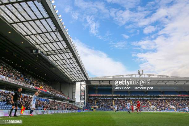 Blackburn Rovers' Harrison Reed takes a throw in during the Sky Bet Championship match between Blackburn Rovers and Middlesbrough at Ewood Park on...