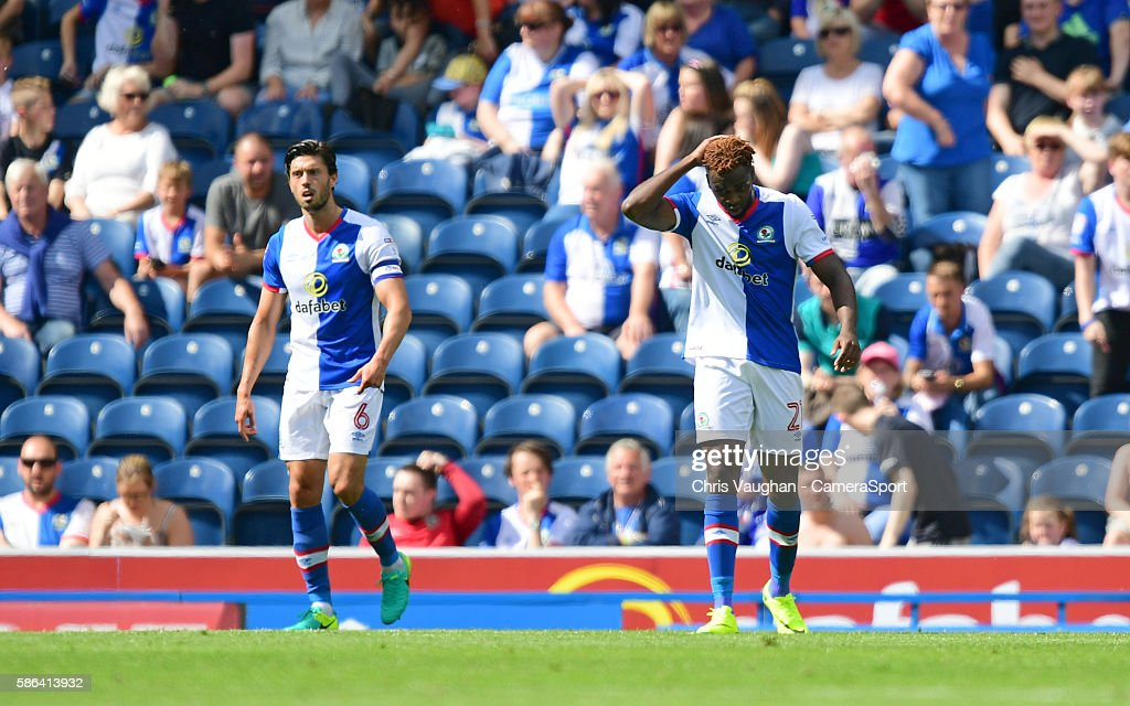 Blackburn Rovers' Hope Akpan reacts after Norwich City's Cameron Jerome scored his sides third goal during the EFL Sky Bet Championship match between Blackburn Rovers and Norwich City at Ewood Park on August 06 in Blackburn, England.