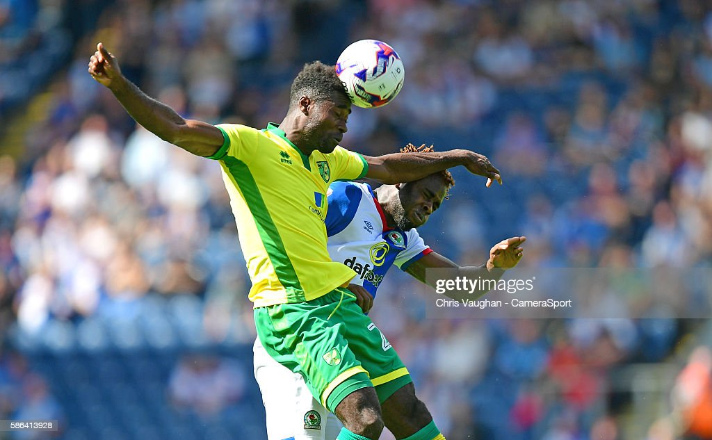 Blackburn Rovers' Hope Akpan vies for possession with Norwich City's Alexander Tettey during the EFL Sky Bet Championship match between Blackburn Rovers and Norwich City at Ewood Park on August 06 in Blackburn, England.