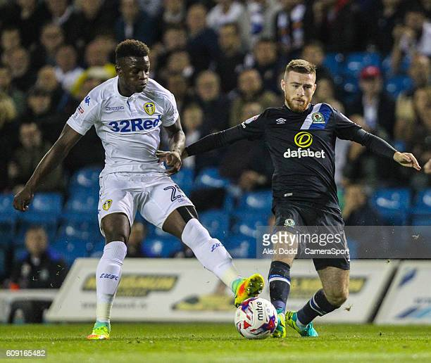 Blackburn Rovers' Jack Byrne battles with Leeds United's Ronaldo Vieira during the EFL Cup Third round match between Leeds United and Blackburn...