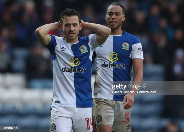 Blackburn Rovers' Jack Payne and Blackburn Rovers' Elliott Bennett during the Sky Bet League One match between Blackburn Rovers and Oldham Athletic...