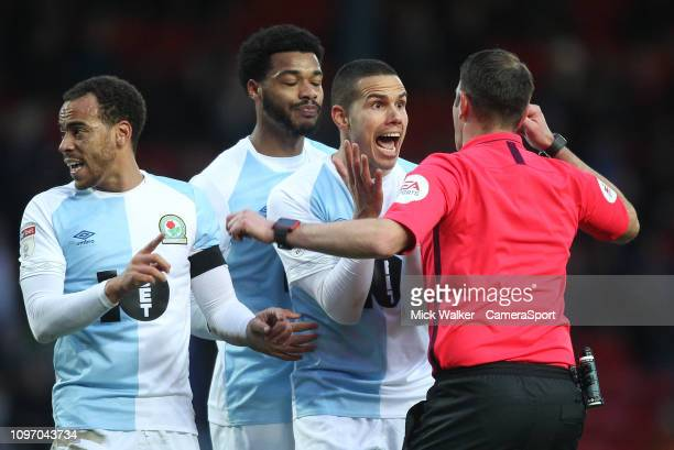 Blackburn Rovers Jack Rodwell complains to referee James Linington during the Sky Bet Championship match between Blackburn Rovers and Bristol City at...
