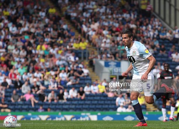 Blackburn Rovers' Jack Rodwell during the Sky Bet Championship match between Blackburn Rovers and Bolton Wanderers at Ewood Park on April 22, 2019 in...