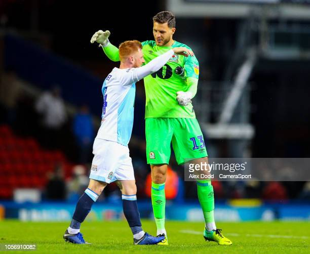 Blackburn Rovers' Jayson Leutwiler celebrates after the match with Harrison Reed during the Sky Bet Championship match between Blackburn Rovers and...