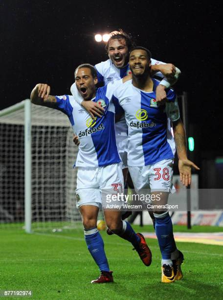 Blackburn Rovers' Joe Nuttall celebrates scoring his side's fourth goal with Elliott Bennett and Bradley Dack during the Sky Bet League One match...