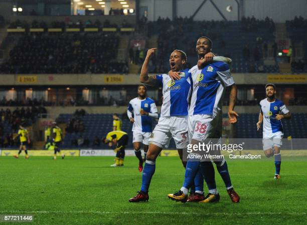 OXFORD ENGLAND NOVEMBER Blackburn Rovers' Joe Nuttall celebrates scoring his side's fourth goal with Elliott Bennett and Bradley Dack during the Sky...