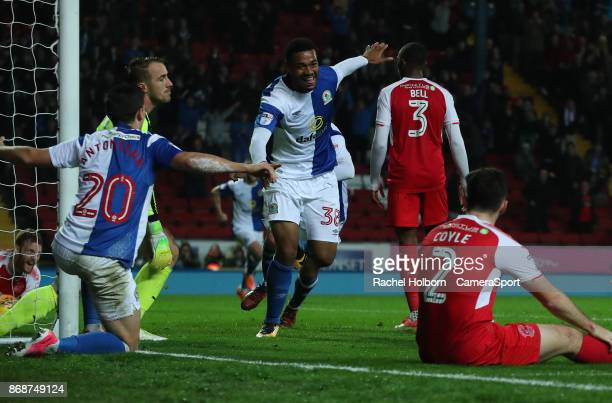 Blackburn Rovers' Joe Nuttall celebrates scoring his side's second goal during the Sky Bet League One match between Blackburn Rovers and Fleetwood...