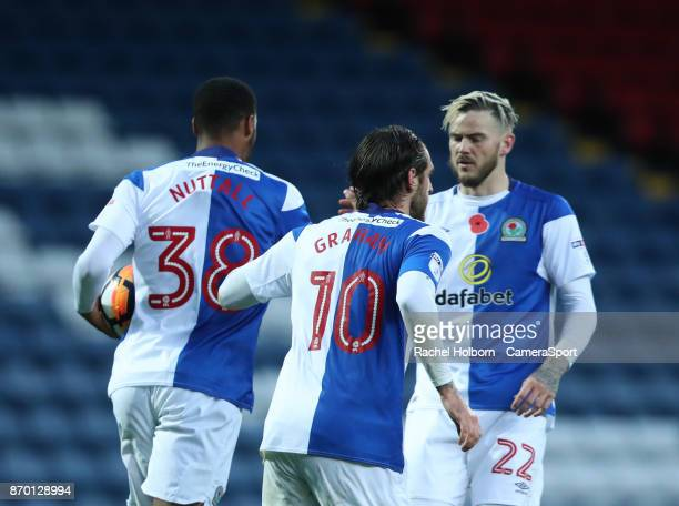 Blackburn Rovers' Joe Nuttall scores his side's first goal during the FA Cup first round match between Blackburn Rovers and Barnet at Ewood Park on...