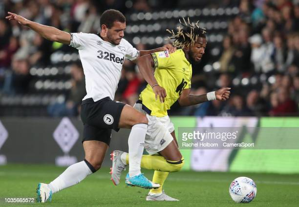 Blackburn Rovers' Adam Armstrong and Derby County's Craig Bryson during the Sky Bet Championship match between Derby County and Blackburn Rovers at...