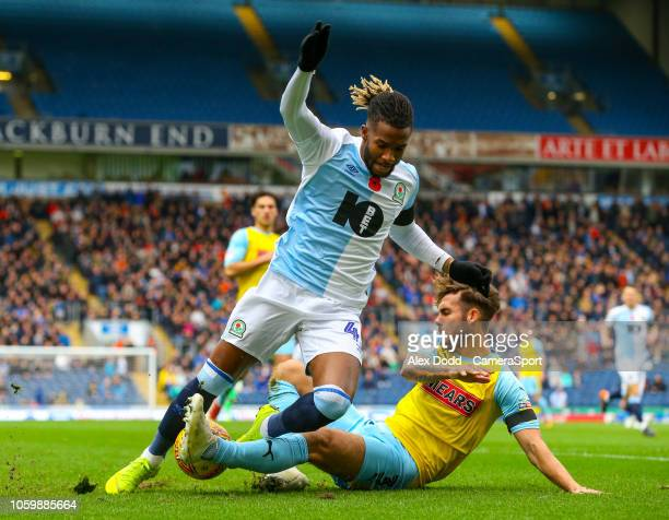 Blackburn Rovers' Kasey Palmer is tackled by Rotherham United's Joe Mattock during the Sky Bet Championship match between Blackburn Rovers and...