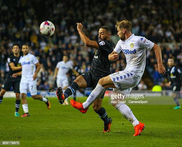 Blackburn Rovers' Liam Feeney blocks a clearance from Leeds United's Charlie Taylor during the EFL Cup Third round match between Leeds United and...