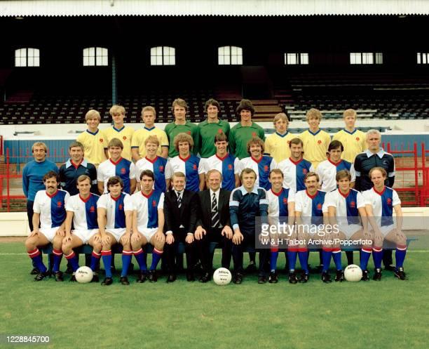 Blackburn Rovers line up for a team photograph at Ewood Park in Blackburn, England, circa October 1982. Back row : Seldon Simms, Michael Bell, David...