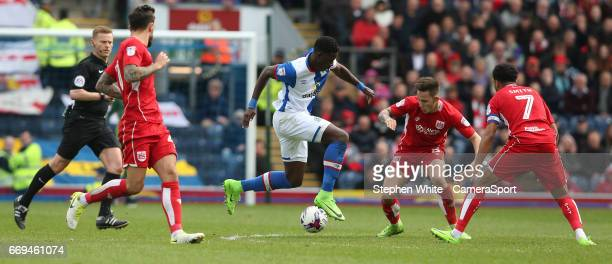 Blackburn Rovers' Lucas Joao and Bristol City's Josh Brownhill during the Sky Bet Championship match between Blackburn Rovers and Bristol City at...
