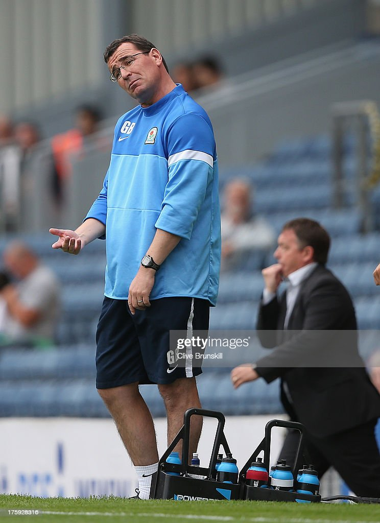 Blackburn Rovers manager Gary Bowyer shows his emotions during the Sky Bet Championship match between Blackburn Rovers and Nottingham Forest at Ewood Park on August 10, 2013 in Blackburn, England,