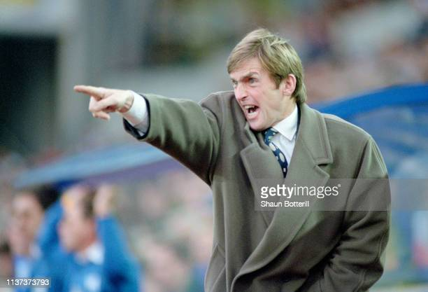 Blackburn Rovers manager Kenny Dalglish reacts on the touchline during a Premier League match at Leicester City on December 17 1994 in Leicester...