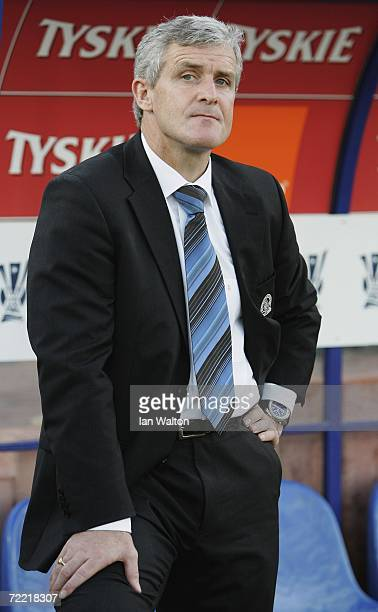 Blackburn Rovers manager Mark Hughes looks on during the UEFA Cup match between Wisla Krakow and Blackburn Rovers at Wisly stadium on October 19 2006...