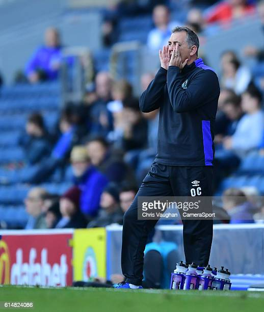 Blackburn Rovers manager Owen Coyle shouts instructions to his team from the dugout during the Sky Bet Championship match between Blackburn Rovers...