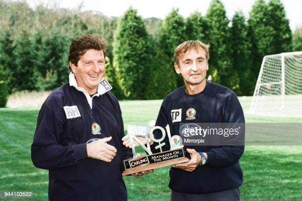 Blackburn Rovers manager Roy Hodgson holding the Carling Manager of the Month Award with assistant Tony Parkes 12th September 1997