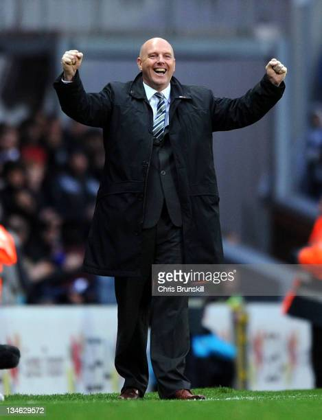 Blackburn Rovers manager, Steve Kean celebrates after the opening goal during the Barclays Premier League match between Blackburn Rovers and Swansea...