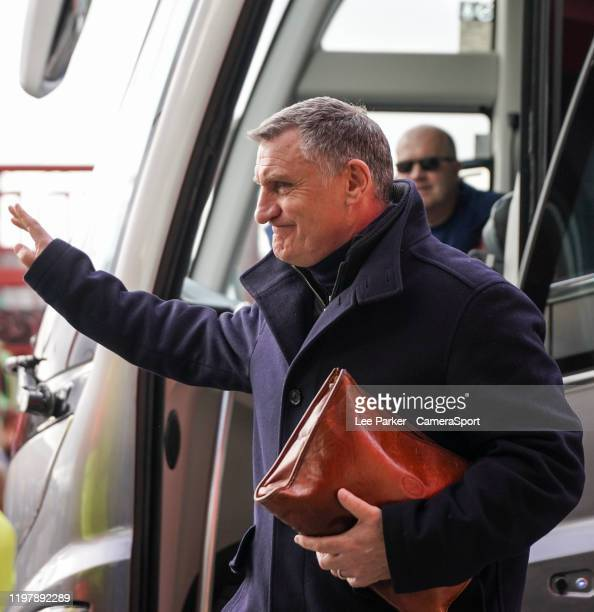 Blackburn Rovers manager Tony Mowbray acknowledges the Middllesbrough fans applause as he arrives at the Riverside Stadium home of Middlesbrough FC...