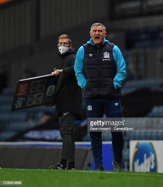 Blackburn Rovers' Manager Tony Mowbray during the Sky Bet Championship match between Blackburn Rovers and Reading at Ewood Park on October 27 2020 in...