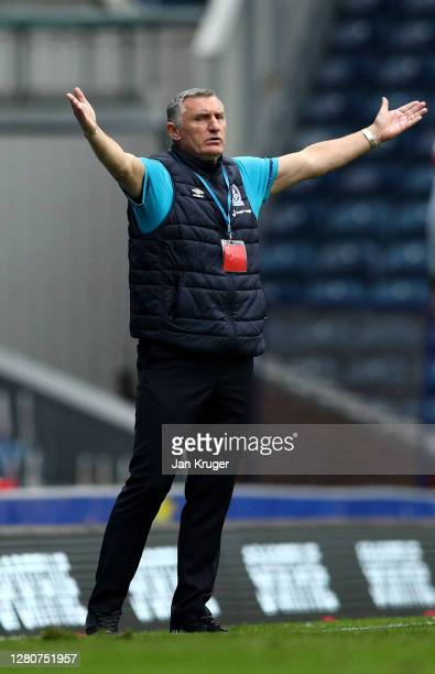 Blackburn Rovers manager Tony Mowbray reacts during the Sky Bet Championship match between Blackburn Rovers and Nottingham Forest at Ewood Park on...