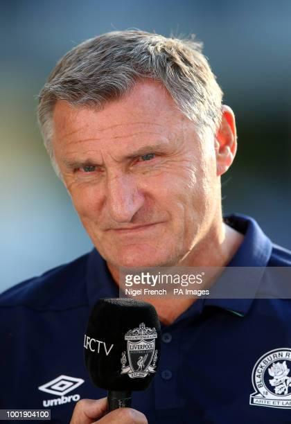 Blackburn Rovers manager Tony Mowbray talking to LFC Tv prior to kickoff during a pre season friendly match at Ewood Park Blackburn