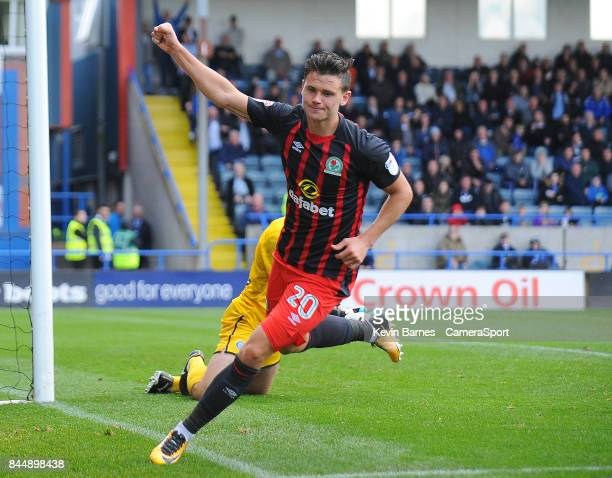 Blackburn Rovers' Marcus Antonsson celebrates scoring his side's second goal during the Sky Bet League One match between Rochdale and Blackburn...