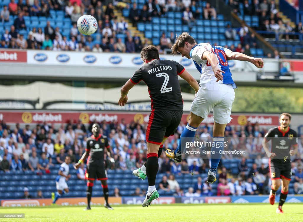 Blackburn Rovers' Marcus Antonsson heads at goal during the Sky Bet League One match between Blackburn Rovers and Milton Keynes Dons at Ewood Park on August 26, 2017 in Blackburn, England.