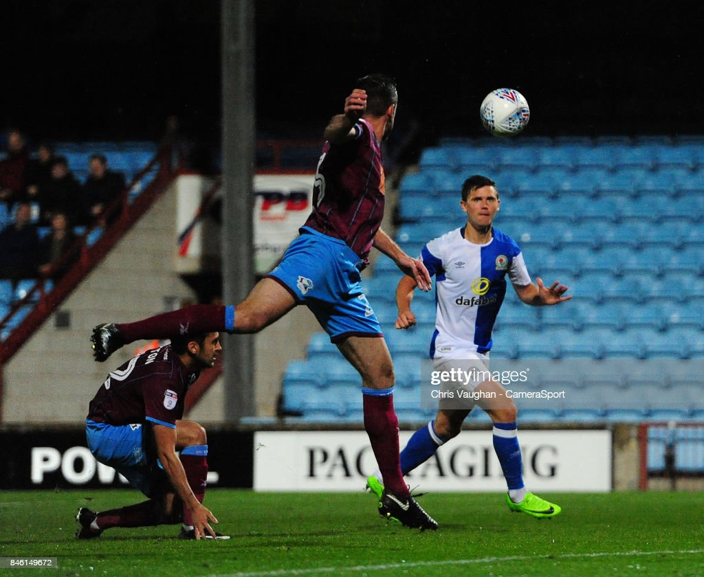 Blackburn Rovers' Marcus Antonsson scores the opening goal during the Sky Bet League One match between Scunthorpe United and Blackburn Rovers at Glanford Park on September 12, 2017 in Scunthorpe, England.