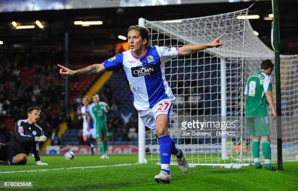 Blackburn Rovers' Michel Salgado celebrates after scoring his side's third goal of the game