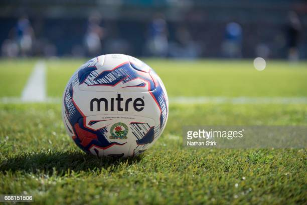 Blackburn Rovers Mitre match ball before the Sky Bet Championship match between Blackburn Rovers and Barnsley at Ewood Park on April 8 2017 in...