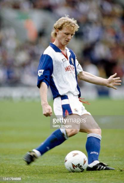 Blackburn Rovers player David May passes the ball during an FA Premier League match against Ipswich Town at Ewood Park on May 7 1994 in Blackburn...
