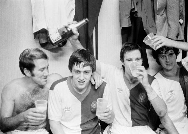 Blackburn Rovers players celebrate in the dressing room after victory in the FA Cup 4th Round tie between Blackburn Rovers and Coventry City at Ewood...
