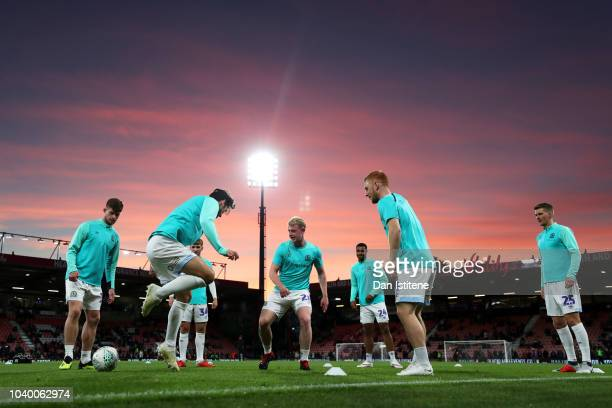 Blackburn Rovers players take part in the warmup before the Carabao Cup Third Round match between AFC Bournemouth and Blackburn Rovers at Vitality...