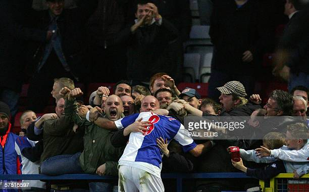Blackburn Rovers' Robbie Savage celebrates the opening goal against Chelsea during their English Premiership soccer match at Ewood Park Blackburn...