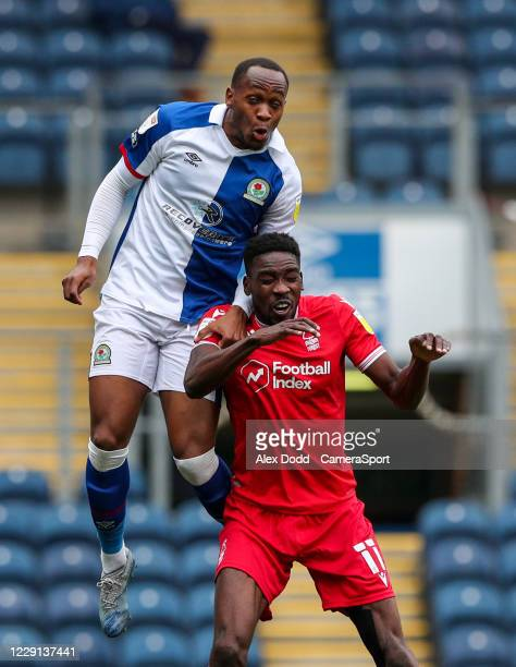 Blackburn Rovers' Ryan Nyambe and Nottingham Forest's Sammy Ameobi battle for the ball during the Sky Bet Championship match between Blackburn Rovers...