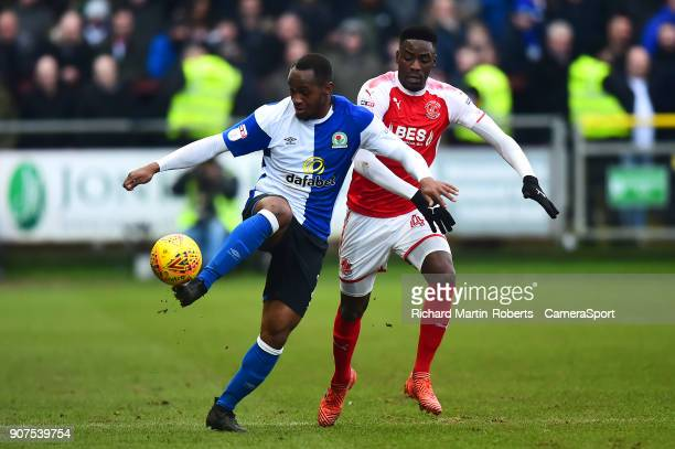 Blackburn Rovers' Ryan Nyambe vies for possession with Fleetwood Town's Devante Cole during the Sky Bet League One match between Fleetwood Town and...
