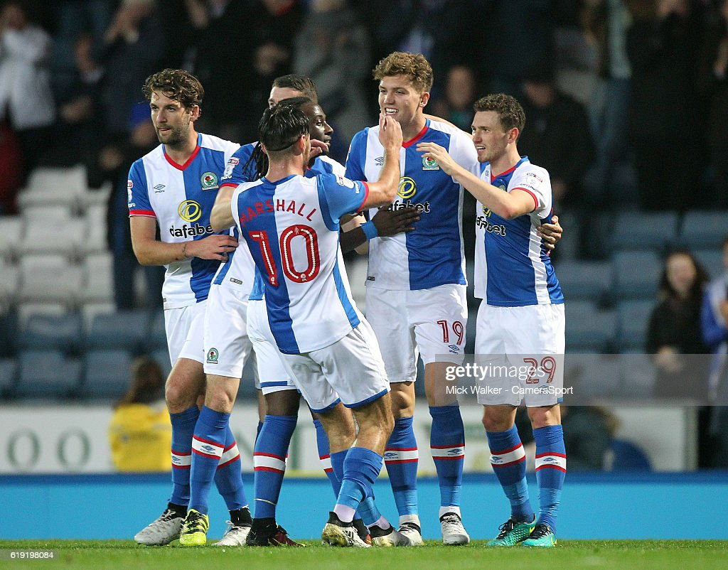 Blackburn Rovers Sam Gallagher celebrates scoring his sides first goal during the Sky Bet Championship match between Blackburn Rovers and Wolverhampton Wanderers at Ewood Park on October 29, 2016 in Blackburn, England.