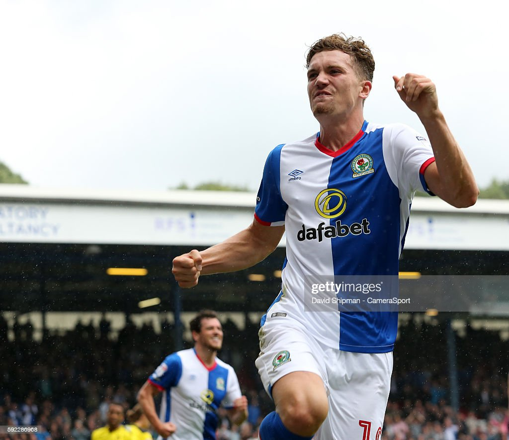 Blackburn Rovers' Sam Gallagher celebrates scoring his sides second goal during the Sky Bet Championship match between Blackburn Rovers and Burton Albion at Ewood park on August 20, 2016 in Blackburn, England.