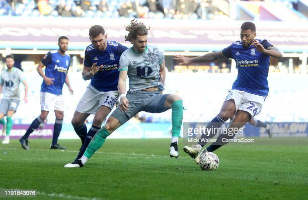 Blackburn Rovers Sam Gallagher in action with Birmingham City's David Davis during the FA Cup Third Round match between Birmingham City and Blackburn...