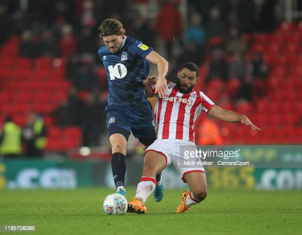 Blackburn Rovers Sam Gallagher in action with Stoke City's Cameron Carter-Vickers during the Sky Bet Championship match between Stoke City and...