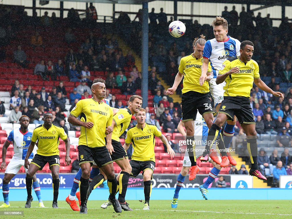 Blackburn Rovers' Sam Gallagher scores his sides second goal during the Sky Bet Championship match between Blackburn Rovers and Burton Albion at Ewood park on August 20, 2016 in Blackburn, England.