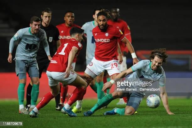 Blackburn Rovers' Sam Gallagher vies for possession with Bristol City's Ashley Williams during the Sky Bet Championship match between Bristol City...