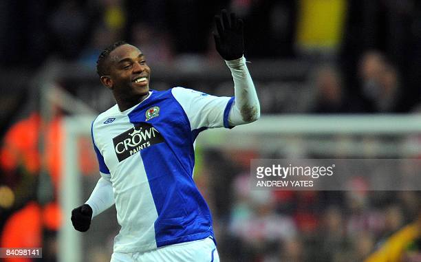 Blackburn Rovers' South African forward Benni McCarthy celebrates after scoring the first goal during the Premier league football match against Stoke...