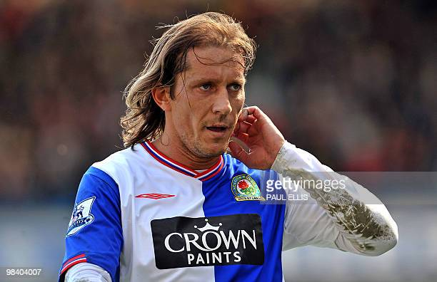 Blackburn Rovers' Spanish defender Michel Salgado in action the English Premier League football match between Blackburn Rovers and Manchester United...